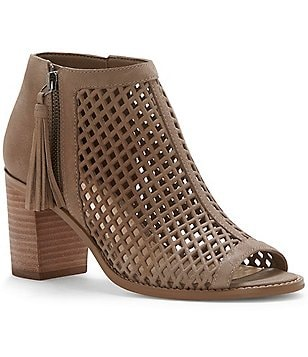 Vince Camuto Tresin Leather Laser Cut Stacked Block Heel Peep Toe Booties