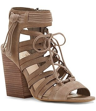 Vince Camuto Ranata Leather Lace Up Stacked Block Heel Sandals