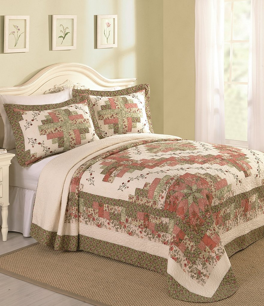 Peking Handicraft Pamela Floral Embroidered Quilted Bedspread