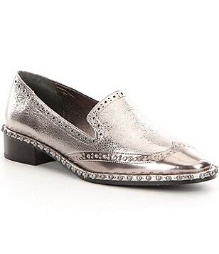 Adrianna Papell Paloma Metallic Patent Leather Slip On Loafers