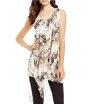 Cupio V-Neck Sleeveless Drape Font Hi-Low Hem Printed Tunic