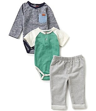 7 For All Mankind Baby Boys Newborn-24 Months Long-Sleeve Bodysuit, Short-Sleeve Bodysuit, & Pants Set