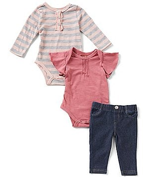 7 For All Mankind Baby Girls Newborn-24 Months Striped Bodysuit, Solid Bodysuit, and Jeans Set