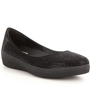 FitFlop Glitter Canvas Elastic Sides Slip-On Ballerina Flats