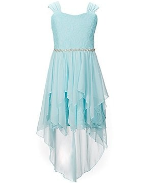Rare Editions Big Girls 7-16 Lace Ruffle High-Low A-Line Dress