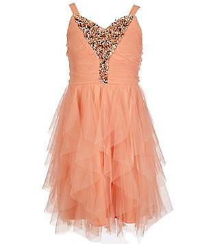 Tween Diva Big Girls 7-16 V-Neck Beaded Cascade Dress