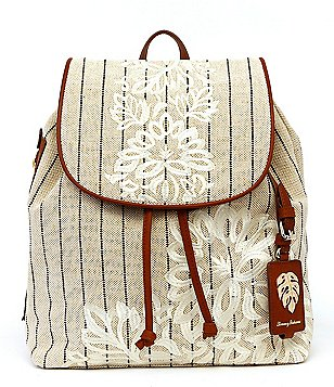 Tommy Bahama Paradise Flower Striped Floral-Embroidered Linen Backpack