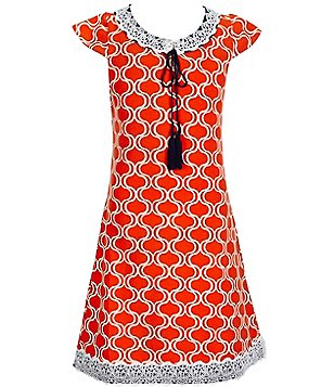 Counting Daisies Big Girls 7-16 Geometric-Print Tassel Dress