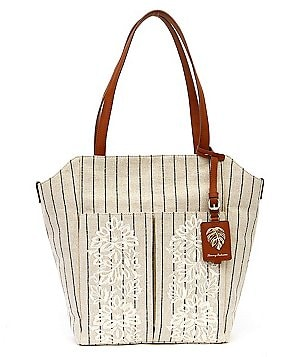 Tommy Bahama Paradise Flower Striped Floral-Embroidered Linen Tote