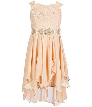 Tween Diva Big Girls 7-16 Lace High-Low Cascade Dress