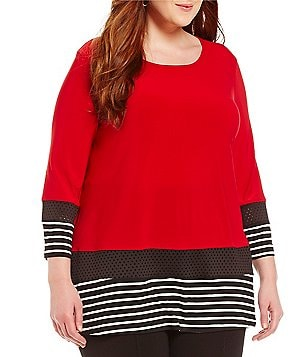 Ali Miles Plus Scoop Neck 3/4 Sleeves Stripe Knit Tunic