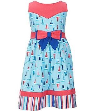 Rare Editions Little Girls 2T-6X Nautical Sailboat-Print Bow Dress