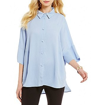 IC Collection Front Buttoned Slouchy Sleeve Blouse