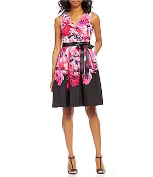 Leslie Fay Surplice V-Neck Floral Fit-and-Flare Dress