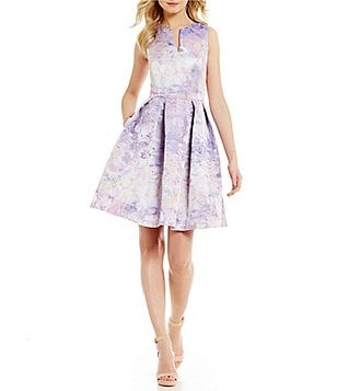 Leslie Fay Split V-Neck Sleeveless Floral Jacquard Fit-and-Flare Dress