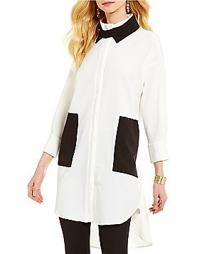 IC Collection Long Sleeve Front Pocket Blouse