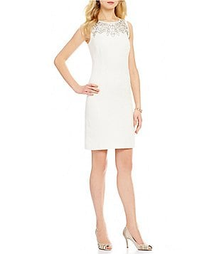 Leslie Fay Beaded Linen Sheath Dress