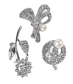 Natasha Accessories Fancy Crystal 3-Piece Pin Set