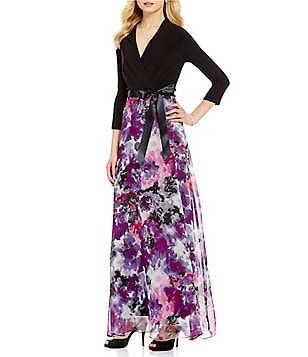 Leslie Fay 3/4-Sleeve Faux-Wrap Printed Maxi Dress