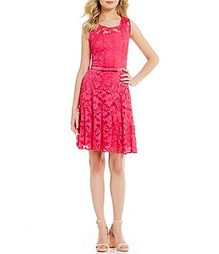 Leslie Fay Sleeveless Belted Lace A-Line Dress