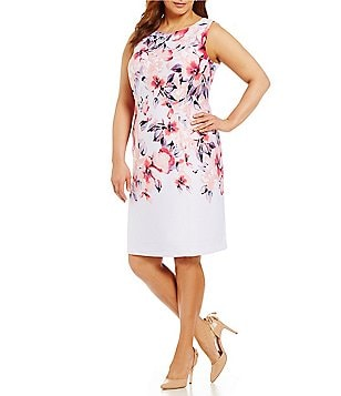 Leslie Fay Plus Floral Scuba Sheath Dress