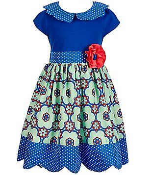 Counting Daisies Little Girls 2T-6X Floral-Applique Dotted Floral-Print Platter-Collar Dress