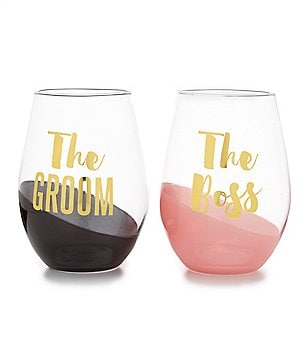 Slant Collection The Boss/The Groom Stemless Wine Glasses, Set of 2