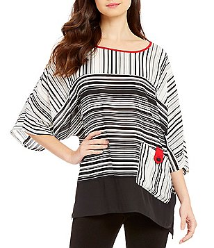 IC Collection Boat Neck 3/4 Sleeve Striped Tunic