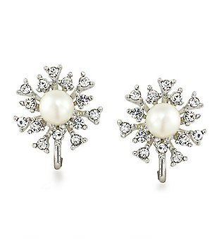 Carolee 21 Club Crystal Burst Stud Clip-On Earrings