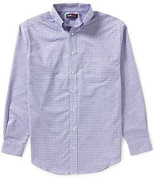 Roundtree & Yorke Travel Smart Big & Tall Easy Care Performance Check Dobby Sportshirt