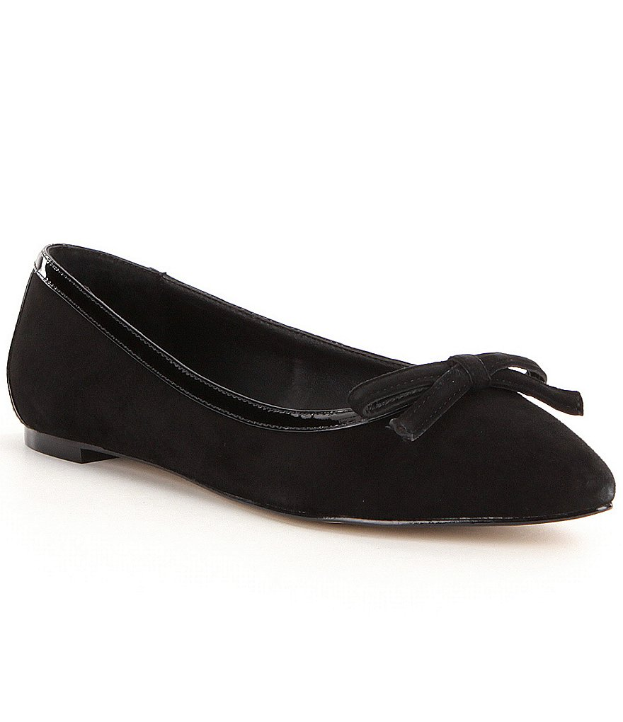 Donald J Pliner Beth Suede Patent Bow Detail Slip-On Flats