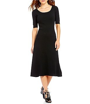 Lauren Ralph Lauren Scoop Neck Short Sleeve Solid Waffle Knit Midi Dress