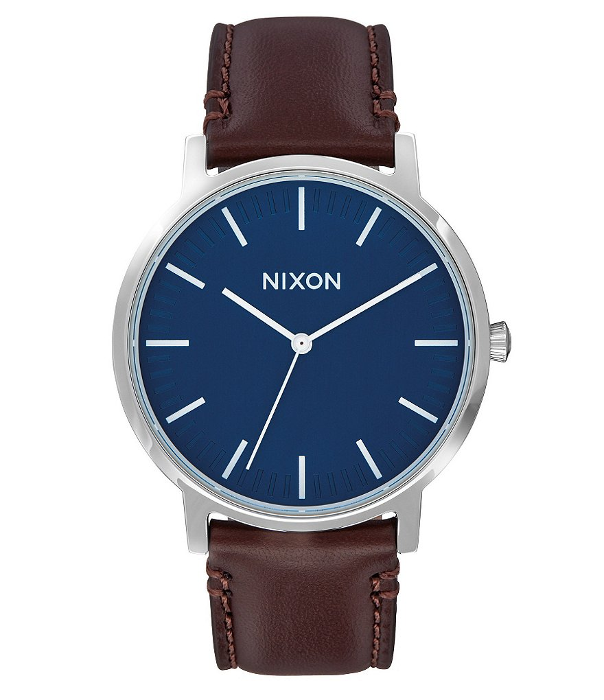 Nixon Porter Analog Leather-Strap Watch