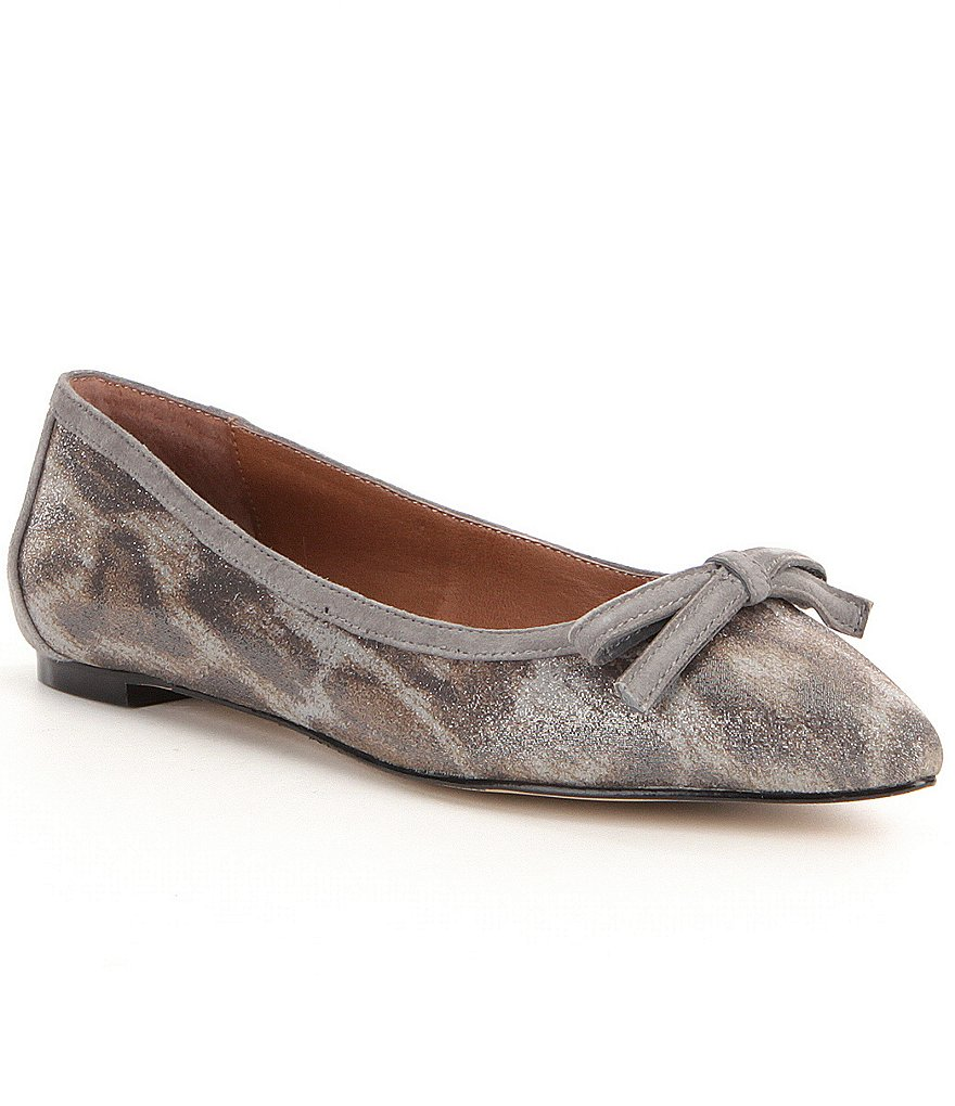 Donald J Pliner Beth Snake Print Bow Detailed Slip-On Flats