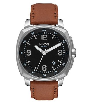 Nixon Charger Analog Leather-Strap Watch