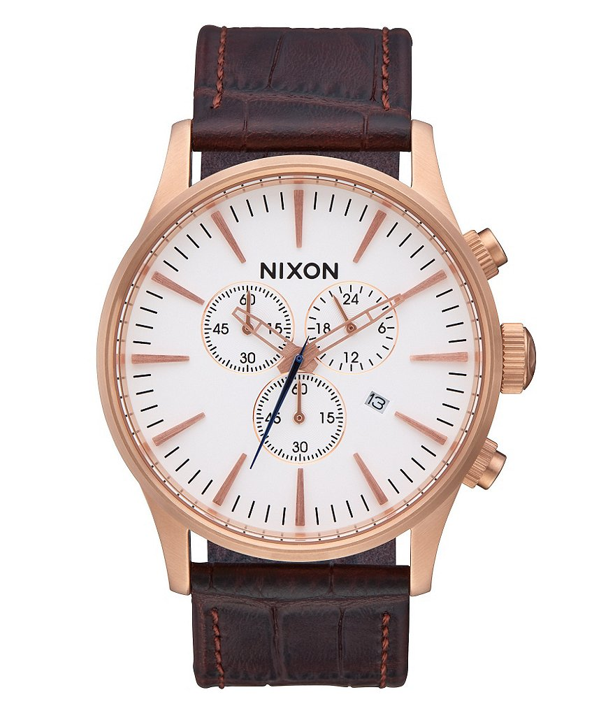 Nixon Sentry Chronograph Crocodile-Embossed Leather-Strap Watch