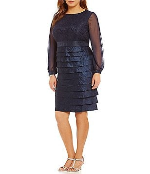 London Times Plus Shimmer Long Sleeve Layered Dress