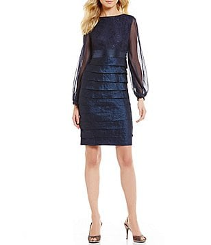 London Times Shimmer Layered Long Sleeve Dress