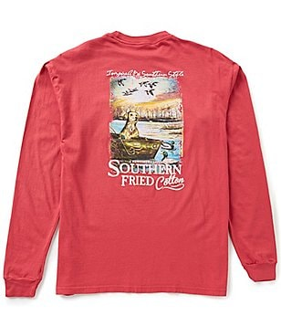 Southern Fried Cotton Men´s Day On Lake Graphic Long-Sleeve Pocket Tee