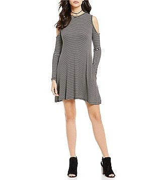 ELAN High Neck Cold-Shoulder Long Sleeve Stripe Dress