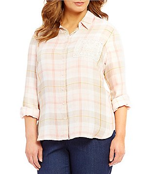 Westbound Plus Point Collar Single Pocket Hi-Low Button Front Plaid Shirt