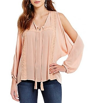 ELAN Cold Shoulder Top with Crochet and Tassels