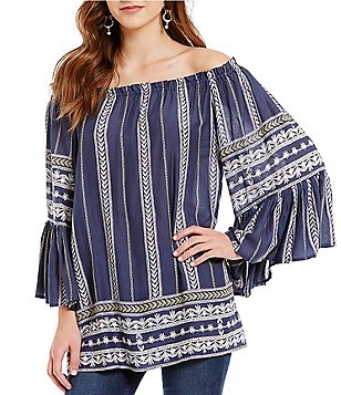 ELAN Laurel-Print Ruffled Off-the-Shoulder Top