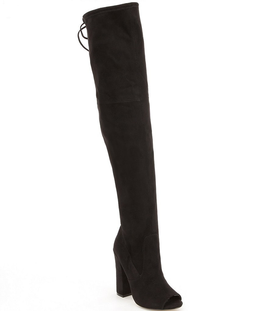 Steve Madden Elliana Over The Knee Tie Back Peep Toe Boots