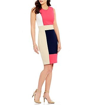 KARL LAGERFELD PARIS Colorblock Sleeveless Sheath Dress