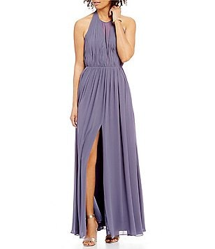 Vera Wang Halter Neck Sleeveless Chiffon Gown