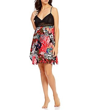 Josie Zoey Cosmos Twill & Lace Chemise
