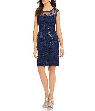 Adrianna Papell Crew Neck Cap Sleeve Sequin Lace Sheath Dress