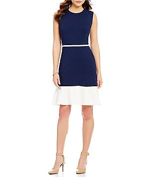 KARL LAGERFELD PARIS Flounce Hem Sleeveless Dress
