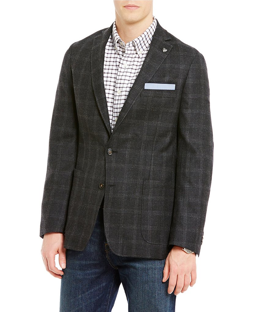 Cremieux Wool Windowpane-Plaid Blazer